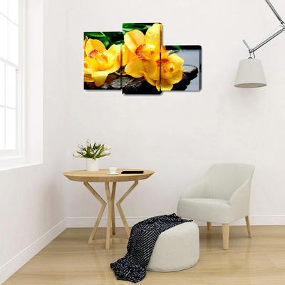 """Модульная картина на подрамнике """"Жёлтые орхидеи на камнях"""", 26×40, 26×50, 26×31 80×50 см"""