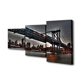 """Картина модульная на подрамнике """"Мост на Манхеттен"""" 26х50см; 26х40см; 26х32см    80*50см"""
