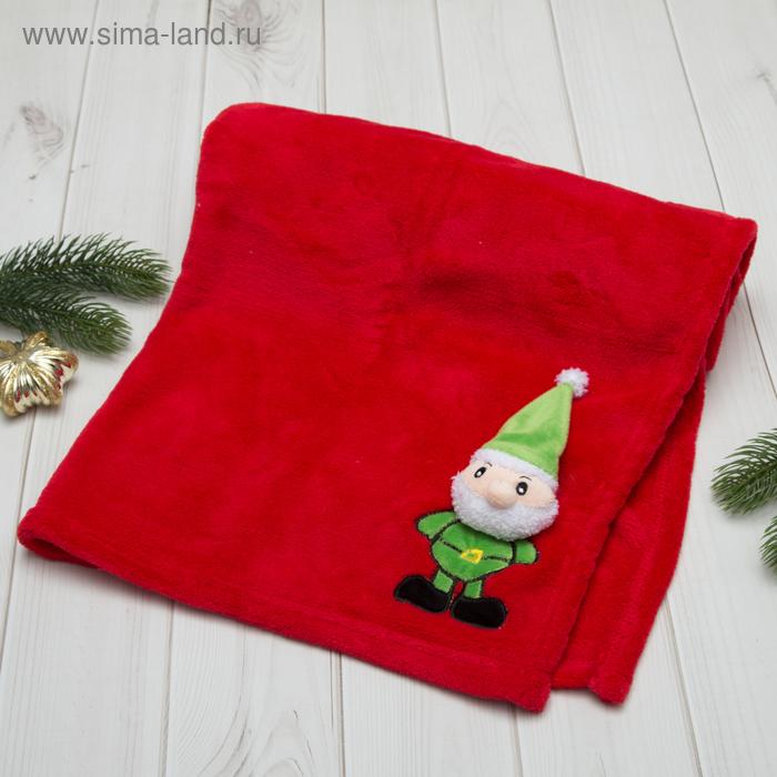 """Плед Этелька """"Новый год Санта"""" 75х100 см, корал-флис, красный"""