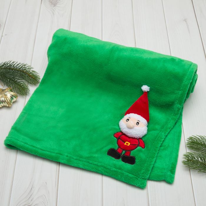 """Плед Этелька """"Новый год Санта"""" 75х100 см, корал-флис, зеленый"""