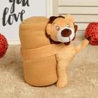 """Набор подарочный для новорождённых """"Этелька"""" 2 пр Мишка, плед коричневый, размер 75х100 см"""