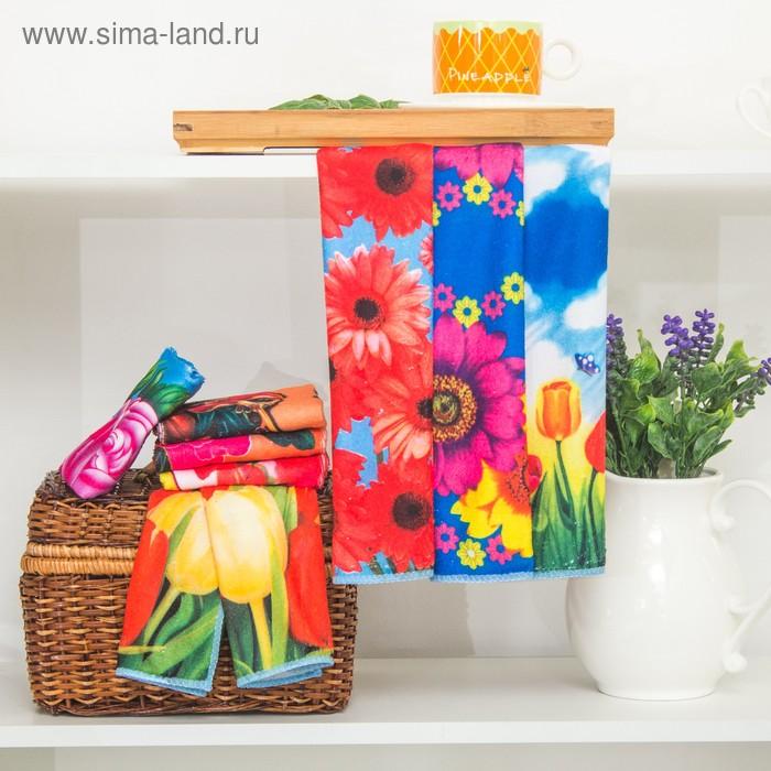 "Полотенце кухонное ""Яркие цветы"" 25х50 см, микрофибра, микс"