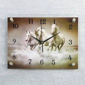 """Часы настенные, серия: Животный мир, """"Кони"""", 30х40  см, микс"""