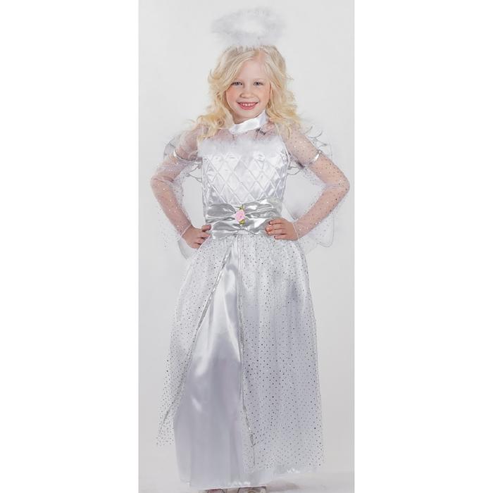 """Карнавальный костюм """"Ангел"""", 3 предмета: платье, крылья, нимб, рост 134 см"""