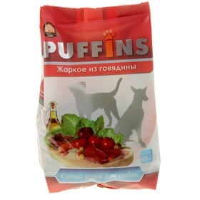 Сухой корм Puffins для собак, жаркое из говядины, 500 г