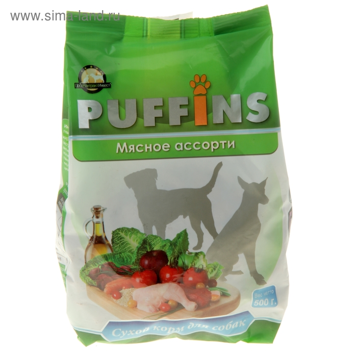 Сухой корм Puffins для собак, мясное ассорти, 500 гр