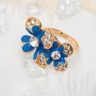 """Кольцо """"Цветочный дуэт"""", цвет синий, размер 17,18,19 МИКС"""