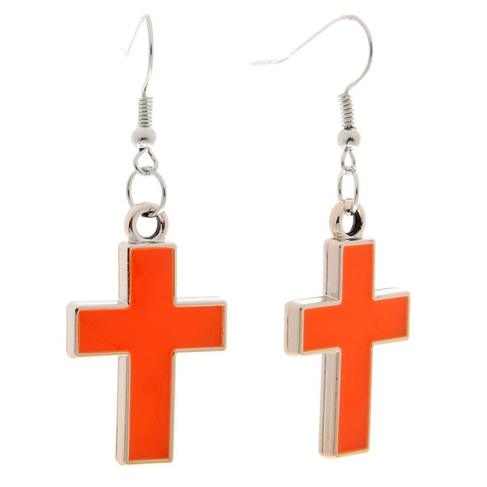 """Серьги эмаль """"Крестик"""", цвет оранжевый"""