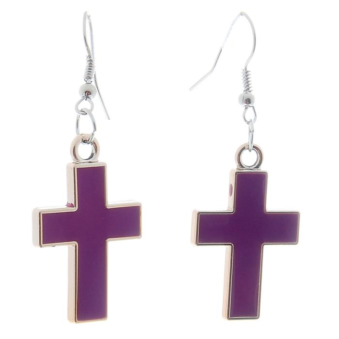 """Серьги эмаль """"Крестик"""", цвет фиолетовый"""