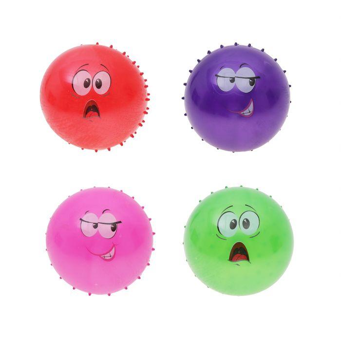 """Мяч массажный """"Рожица"""" 20 см, 45 гр, цвета микс"""