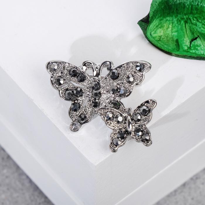 """Брошь """"Бабочки порхающие"""", цвет серый в серебре"""