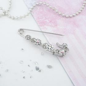 """Pin """"Flower Magnolia"""", 7 cm, color white silver"""
