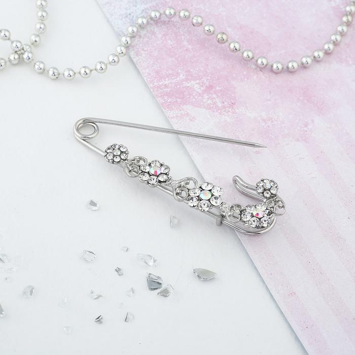 """Булавка """"Магнолия"""", 7 см, цвет белый в серебре"""