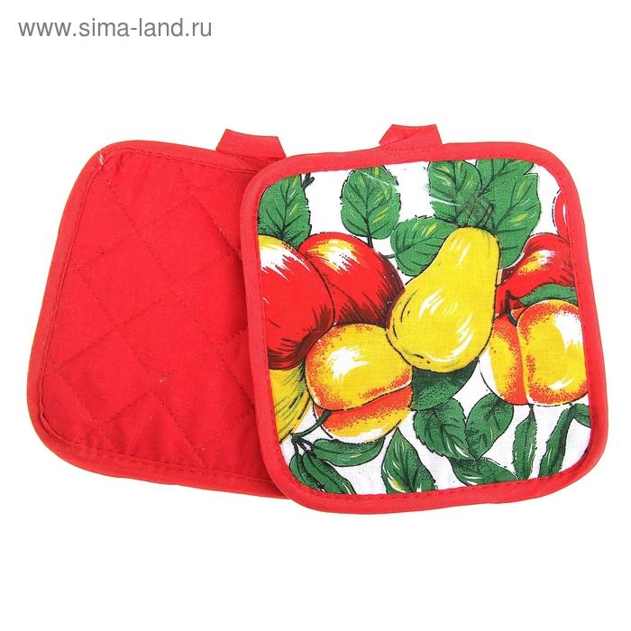 """Кухонный набор Collorista """"Яблоки и груши"""", 2 предмета: прихватка 17*17 см - 2 шт, 100% хлопок"""