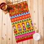 """Полотенце вафельное набивное """"Матрёшка"""", размер 40х75 см, 160 г/м², цвет красный"""