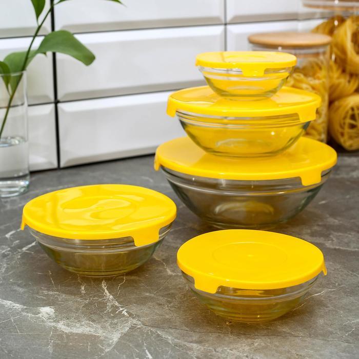 "Набор салатников ""Классика"" с крышками, 5 шт: 900 мл (17х7,6 см), 500 мл (16х6 см), 350 мл (12,5х5,4 см), 200 мл (10,5х4,5 см), 130 мл (9х3,7 см), цвет желтый"