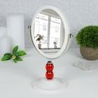 Зеркало на ножке, с увеличением, зеркальная поверхность — 11,8 × 14,8 см, цвет белый/красный