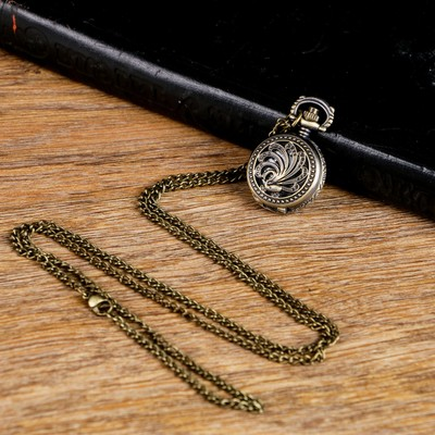 Карманные кварцевые часы «Павлин», на цепочке 80 см