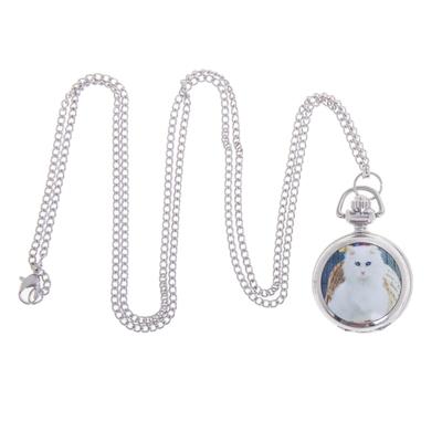 Карманные кварцевые часы «Белая кошка», на цепочке 80 см