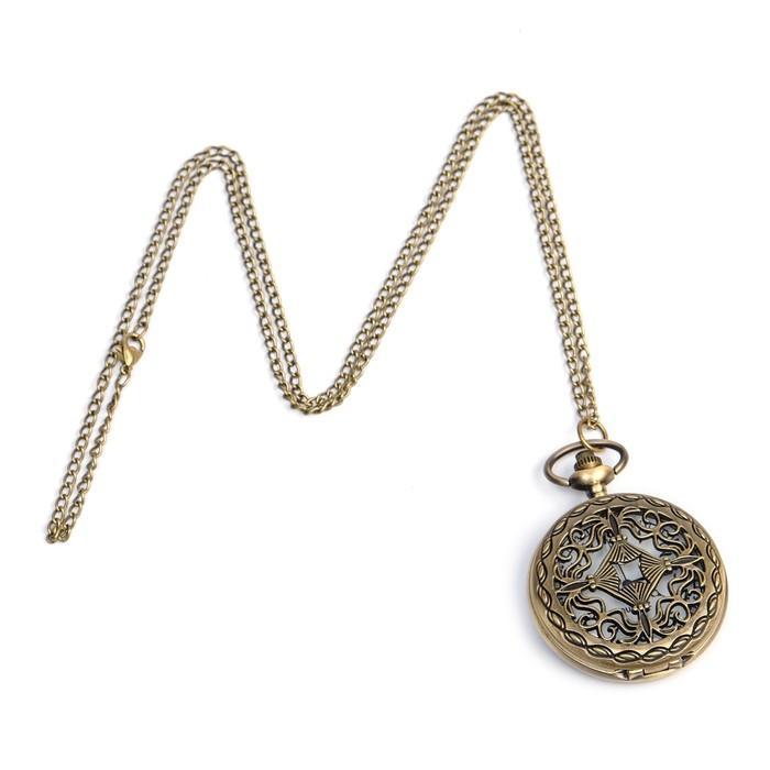 Карманные кварцевые часы «Вензель», на цепочке 80 см - фото 797620492