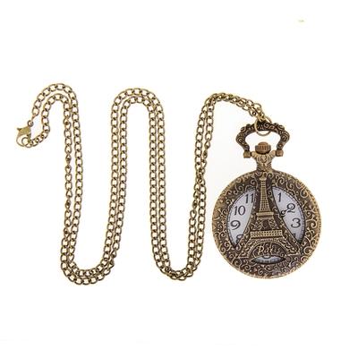 Карманные кварцевые часы «Эйфелева башня», на цепочке 80 см