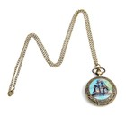 Pocket watch Ship, quartz with chain 80 cm, d=4.5 cm
