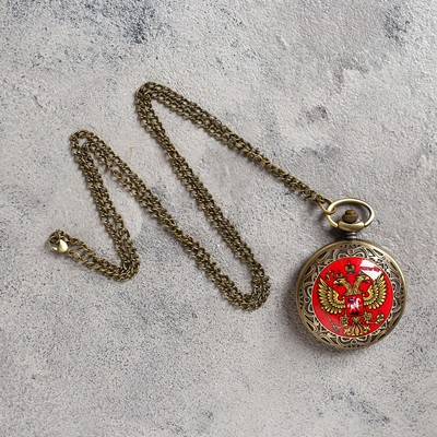 Карманные кварцевые часы «Двуглавый орёл», на цепочке 80 см