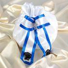 Сумочка невесты атласная, белая с синей окантовкой