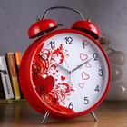Alarm clock big Hearts, d=23 cm, red