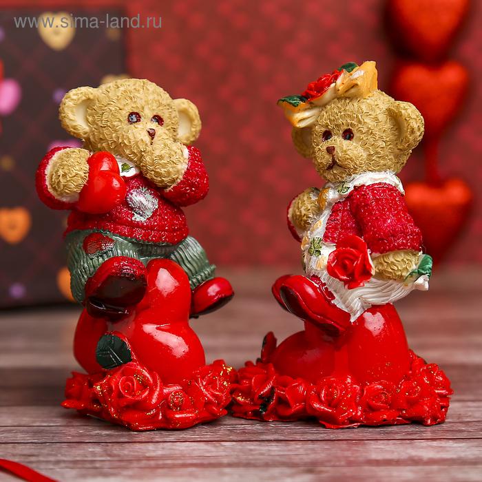 "Сувенир ""Мишки в кофточке на сердце с розами"", МИКС"