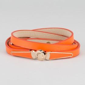 Ремень женский 'Памела', пряжка-крючок под золото, с увеличением, ширина 1,5см, цвет оранжевый Ош