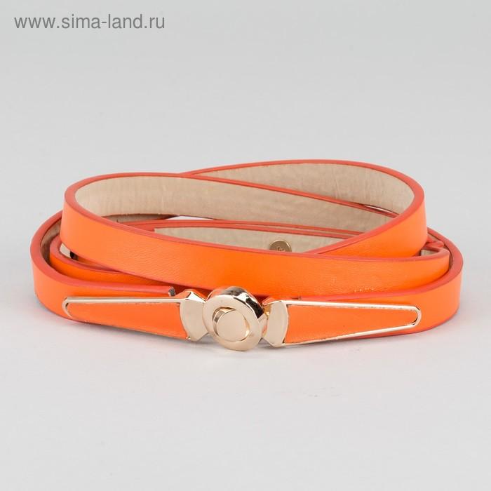 """Ремень женский """"Памела"""", пряжка-крючок под золото, с увеличением, ширина 1,5см, цвет оранжевый"""