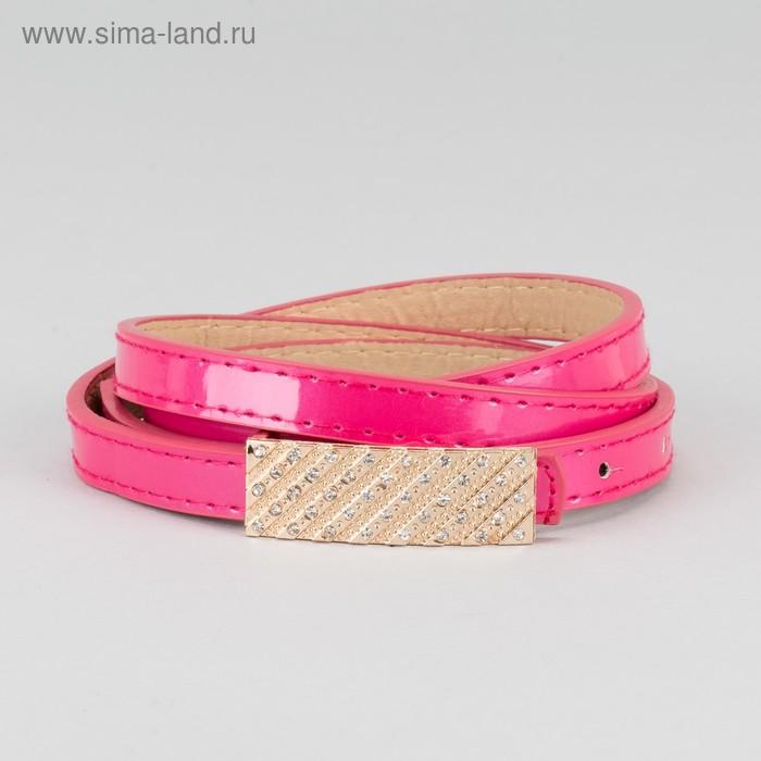 """Ремень женский """"Прю"""", пряжка под золото, лакированный, со стразами, ширина 1см, цвет розовый"""