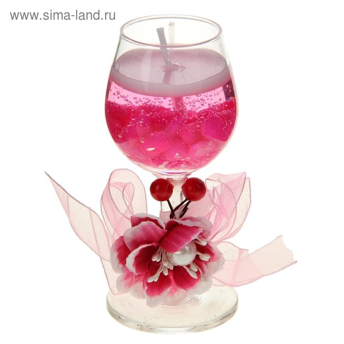 "Свеча гелевая ""Цветок с вишенками"", цвет розовый"