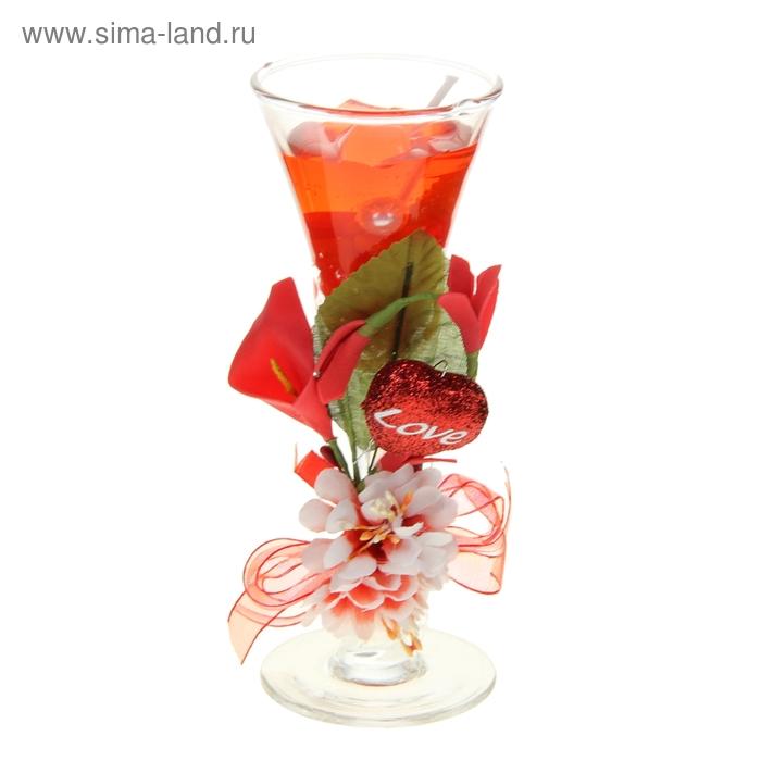 """Свеча гелевая """"Цветок любви"""", цвет красный"""