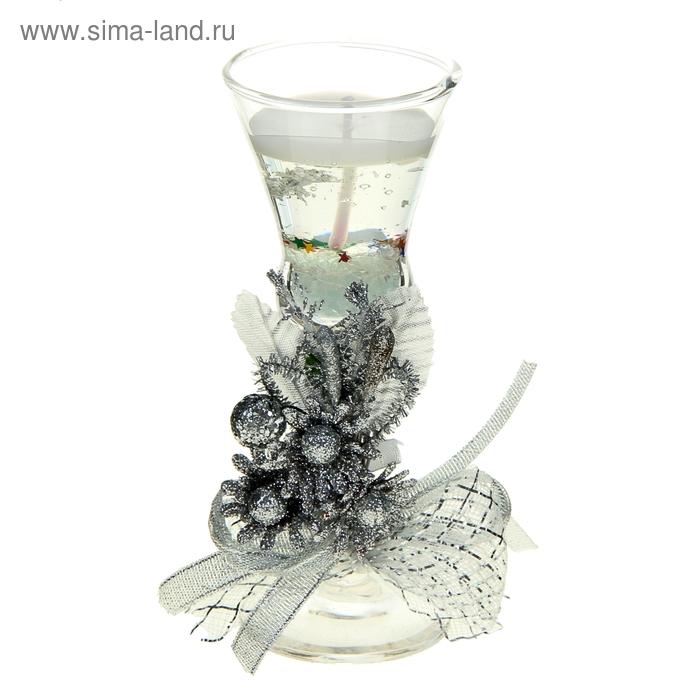 "Свеча гелевая ""Три цветка"", цвет серебро"