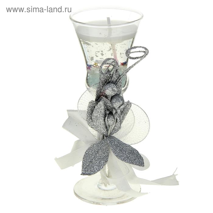 "Свеча гелевая ""Лепестки"", цвет серебро"