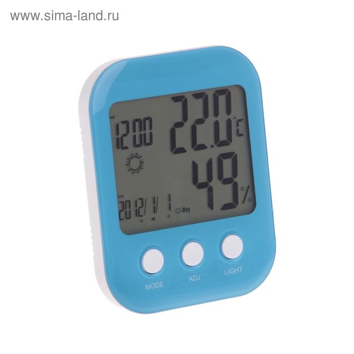 Часы-будильник, дата/температура/влажность, LED подсветка