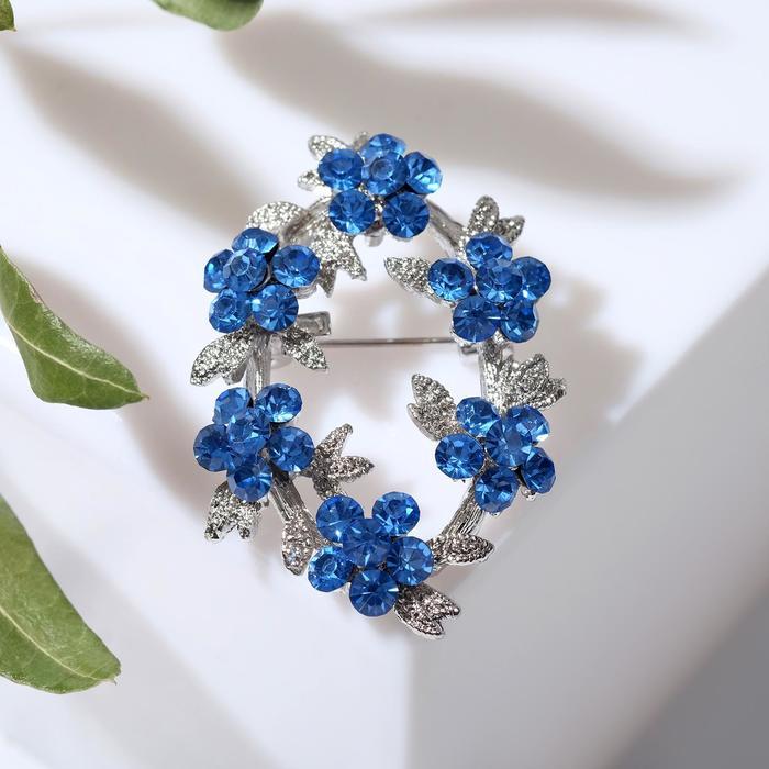 """Брошь """"Венок"""" васильки, цвет голубой в серебре"""