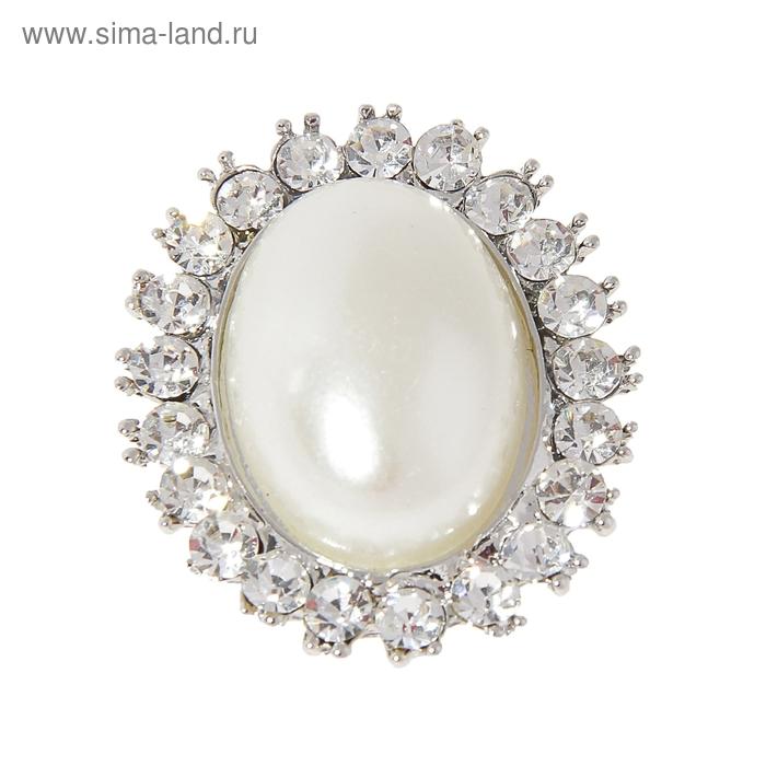 """Брошь """"Классик"""", овал, цвет белый в серебре"""