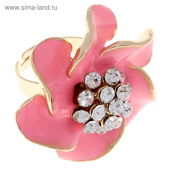 """Кольцо """"Цветок"""", цвет розовый, безразмерное"""