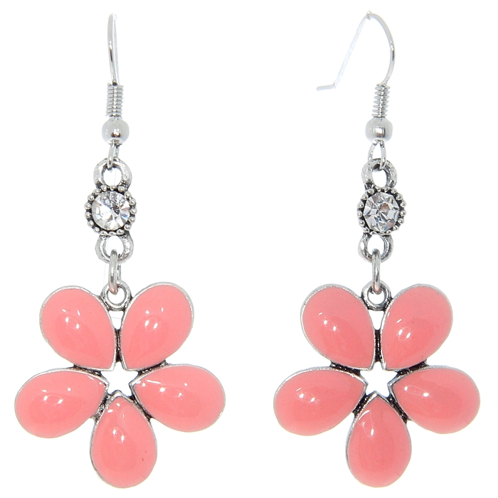 """Серьги эмаль """"Цветок"""" пятилистник, цвет коралловый в серебре"""