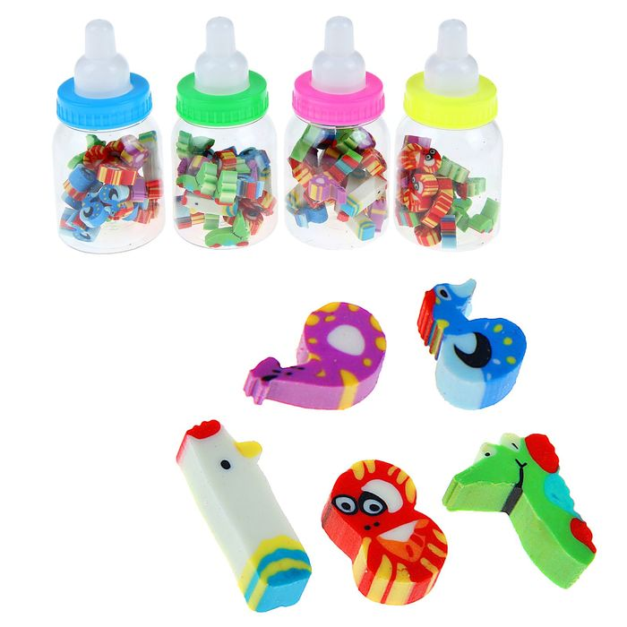 Набор ластиков фигурных 20шт Фигурки в бутылочке пластиковой МИКС