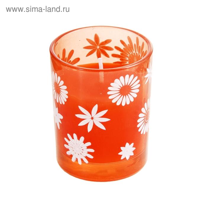 """Свеча восковая """"Цветочки"""", цвет оранжевый"""