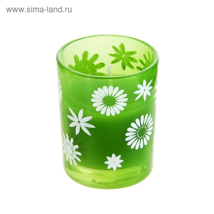 """Свеча восковая """"Цветочки"""", цвет зеленый"""