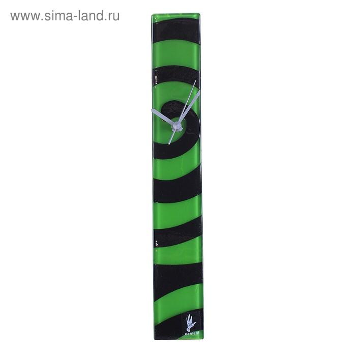 """Часы настенные """"Спираль"""", черно-зеленые"""