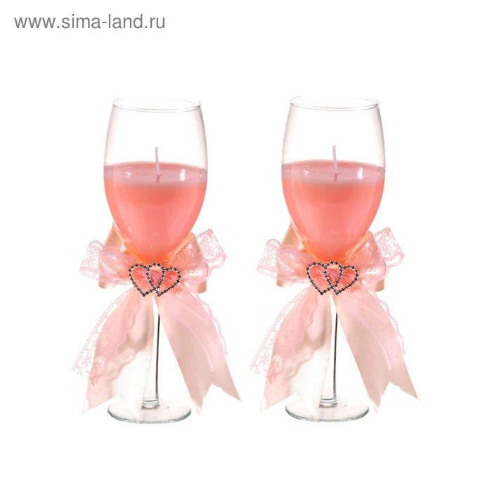 """Свечи восковые (набор 2 шт) """"Сплетение сердец"""", цвет розовый"""