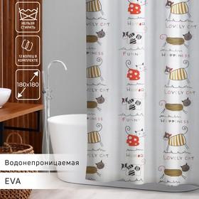 Штора для ванной комнаты Доляна «Коты», 180×180 см, EVA