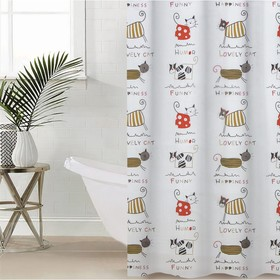 """Штора для ванной 180×180 см """"Коты"""", EVA"""