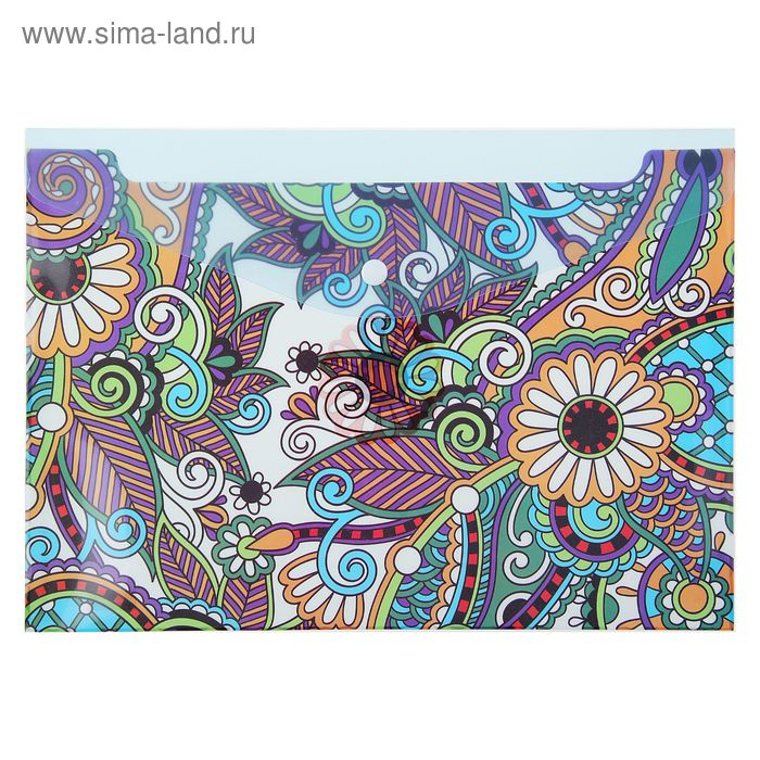 Папка-конверт на кнопке формат А4 180мкр МИКС Цветы